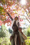 Father carrying daughter on shoulders in autumn Royalty Free Stock Photography