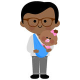 Father carrying his baby girl in a sling Royalty Free Stock Photography