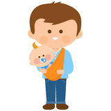Father carrying his baby in a sling Royalty Free Stock Images