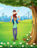 A father carrying his son near the tree across the buildings. Illustration of a father carrying his son near the tree across the buildings Stock Photos