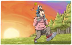 Father carrying his son on shoulders with sunset in background. Illustration of a man running with his son on shoulders and playing with kite as the sun set Royalty Free Stock Images