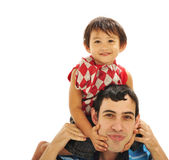 Father carrying son Royalty Free Stock Images