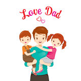 Father Carrying Son And Daughter. Father's Day Family Parent Offspring Love Relationship Stock Images