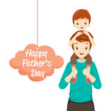 Father Carrying Son On His Shoulders. Father's Day Family Parent Offspring Love Relationship Royalty Free Stock Photos