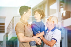 Father carrying son in summer Royalty Free Stock Photos