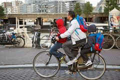 Father carrying two children at a time on the bike. Amsterdam, Netherlands royalty free stock photography