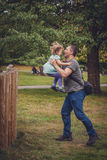 Father catching daughter Royalty Free Stock Photos