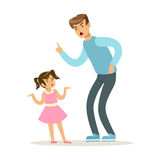 Father character scolding his daughter vector Illustration. Isolated on a white background Royalty Free Stock Photography