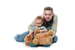 Father with child. With toy bear Royalty Free Stock Image