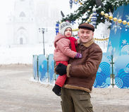 Father with child  in Christmas time Stock Image