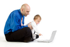 Father with child at computer Royalty Free Stock Images