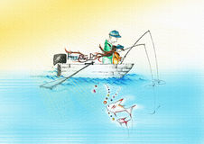 A father and a child fishing. A drawing  illustration of a father and a child fishing on a boat writing happy fathers day in a sunny day Royalty Free Stock Images