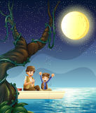A father and child fishing. Illustration of a father and child fishing Royalty Free Stock Photos