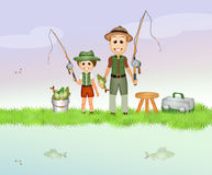 Father and child fishing Stock Images