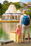Father and child at Ganga Talao. Mauritius. Stock Photography