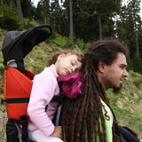 Father and child hiking stock photos