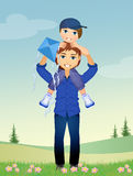 Father and child with kite Stock Photo