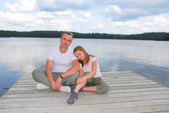 Father child lake Stock Photography