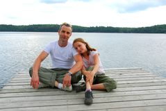 Father child lake Stock Photos