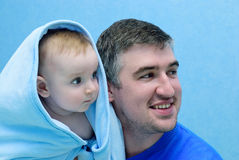Father and child look toward Stock Photography