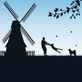Father and child play outdoors. Silhouettes of a happy family of the father and the child on blue background, illustration Stock Photo
