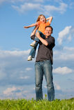 Father and child playing together Royalty Free Stock Image