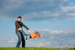 Father and child playing together royalty free stock photos