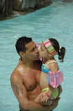 Father and child in pool Royalty Free Stock Photo