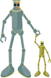 Father and child robots holding hands. Dad with kid joined in joyful mood Stock Image