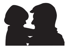 Father and child silhouette Royalty Free Stock Image