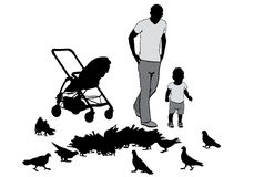 Father with child. Father walks with the baby in the stroller. They feed the pigeons Stock Photos