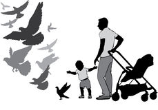 Father with child watch and feed the pigeons. The father walks with the baby in the stroller. They watch and feed the pigeons. The child learns to walk. A child Royalty Free Stock Photos