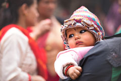 Father and child watching ceremony procession. Stock Photography