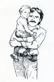 Father and child. Young father with his little daughter of son. Hand drawn ink sketch Stock Photos