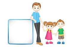 Father and children. Illustration of 3d happy family in vector fully scalable holding placard Royalty Free Stock Images