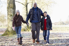 Father And Children On Autumn Walk Stock Images