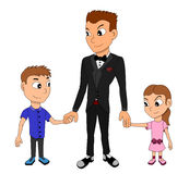 Father and children cartoon Stock Photo