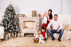 Father with children on christmas holiday Stock Photo