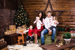Father with children on christmas holiday Royalty Free Stock Image