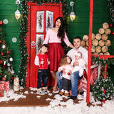 Father with children on christmas holiday Stock Photography