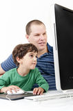 Father and children with computer Royalty Free Stock Image