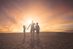 Father and children looking something Royalty Free Stock Photography