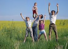 Father with children outdoor Stock Photo