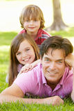 Father with with children outdoors Stock Photo