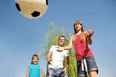 Father and children playing Stock Photography