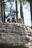Father And Children Resting On Hike Through Countryside Royalty Free Stock Images