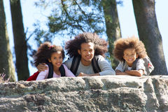 Father And Children Resting On Hike Through Countryside Royalty Free Stock Photo