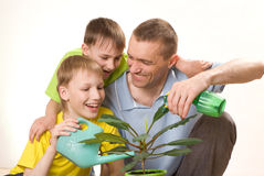 Father and children watering flower Royalty Free Stock Images