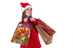 Father Christmas. Woman portraying father Christmas with a cheerful smile Royalty Free Stock Image