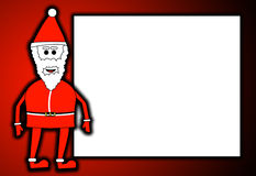 Father Christmas With Blank Sign. Father Christmas in front of a blank sign Stock Photos